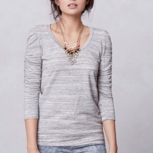 Anthropologie Dolan Heather Gray Ruched Top